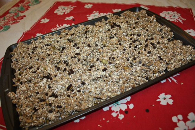 Dump the mixture onto your jelly roll pan and add chocolate chips.