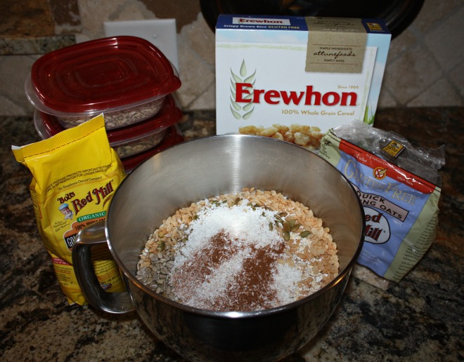 Dump all the dry ingredients (minus brown sugar) into a mixing bowl.